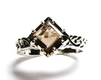 "Smokey quartz, smokey quartz ring, princess solitaire, brown weave ring, brown,  s 7 3/4  ""Countdown"""