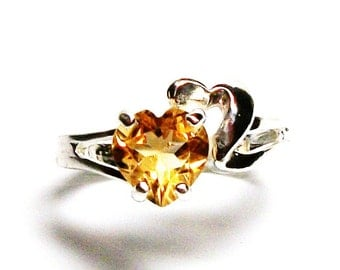 "Citrine ring, citrine heart ring, birthstone ring, sweetheart ring, yellow ring,  s 7      ""Heartfelt"""
