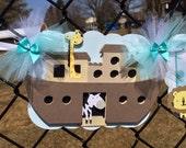 Noah's ark banner, gender reveal banner, baby shower banner, photo prop, gender neutral banner, teal, turquoise, light blue