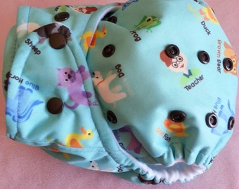 SassyCloth one size pocket cloth diaper with brown bear PUL print. Made to order.