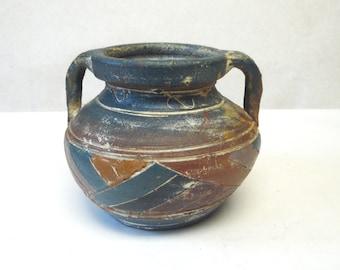 Rustic Hand Thrown Vase Handpainted Folk Art Blue Brown CrockFlower Holder