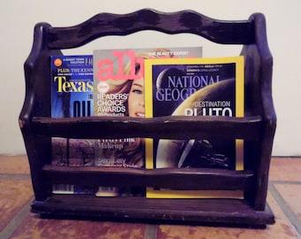 Wood Magazine Rack Holder Cottage Decor