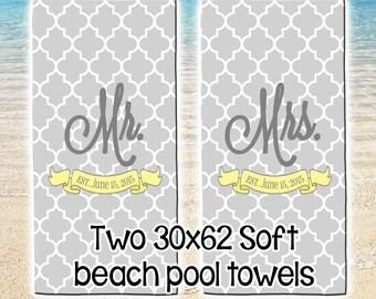 Personalized Beach Pool Towel Monogram Set of 2 Towels Summer Wedding Newlywed Honeymoon Anniversary travel vacation Large 30 x 62