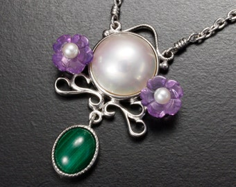 SALE: Violet motif mabe pearl silver necklace