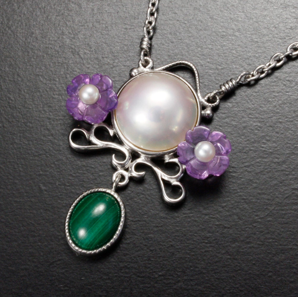 Mabe Pearl Necklace: SALE: Amethyst Flower Mabe Pearl Pendant Necklace Silver
