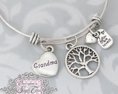 GRANDMA GIFT, Grandma Bracelet, BANGLE Bracelet, You are loved charm, Family Tree Charm, Gifts for Grandma, Birthday Gift Ideas,  Jewelry,