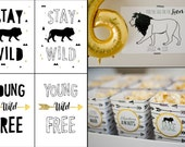 Young Wild Free Tribal Black White Gold Lion Printables
