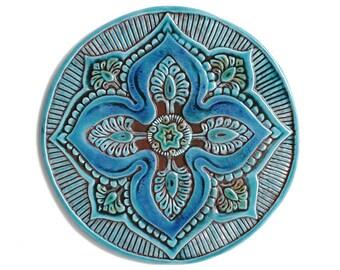 Garden decor // Garden art // Circle wall art // Outdoor Wall Art // Yard art // Decorative wall tiles // Mandala #5 // 30cm // Turquoise