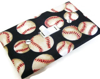BASEBALLS Light Switch Cover Plate Switchplate Sports Decor