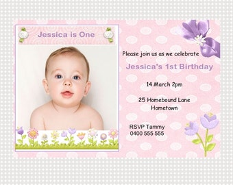 First Birthday Invitation Girl Printable Personalized