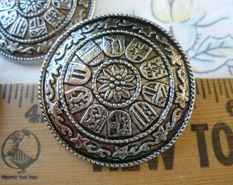 """Floral Coat of Arms 38MM shank Buttons Extra Large carved pattern 1 1/2"""" antique silver metallic plastic shank 3 each 60L gothic costume"""