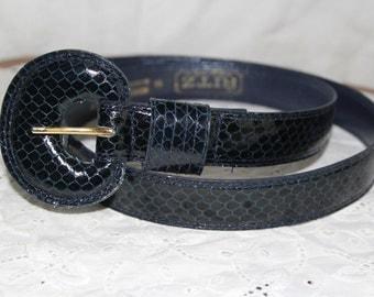 Genuine snakeskin wide navy blue belt womens XL / retro 1980s big buckle glam fashion / Ritz Collection designer
