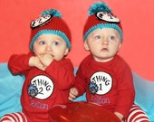Thing 1 and Thing 2 Shirts- Super Cute- Dr. Suess- Twin Outfits- Take Home Outfits- Birthday Outfits