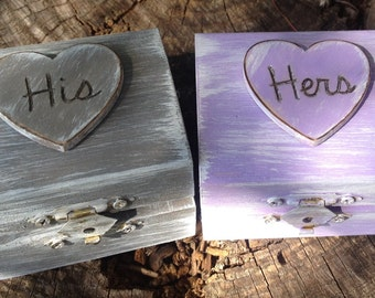 His & Hers Ring Bearer Boxes You Pick Your Colors  Romantic Antique Vintage Inspired Cottage Chic  Alternative Ring Pillow