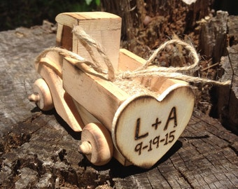 The Original Design Country Chic Wedding Ring Bearer Wooden Truck with Burlap Ring Pillow Alternative