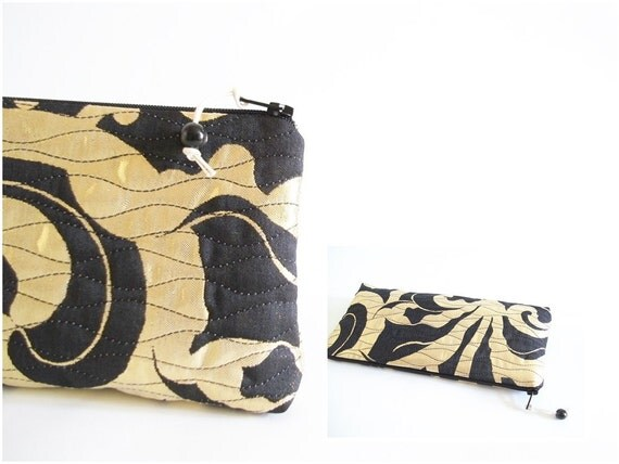 Shiny Wedding Clutch, Black and Yellow Purse, Event Clutch Handbag, Bridesmaid Gift Bag, Party Cosmetic Bag OOAK