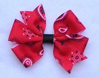 "Basic Hair Bows, Red Bandana Hair Bow, 4-H Hair Bows, Summer Hair Bow,  Simple Bow,  3"" Hair Bow, Western Hair Bow, Cowgirl Hair Bow,"