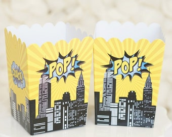 10 Mini Superhero Theme Birthday Party Popcorn Favor Boxes-Black & Yellow