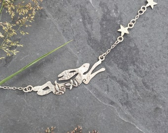 Hare, rabbit Catch the Stars Necklace sterling silver