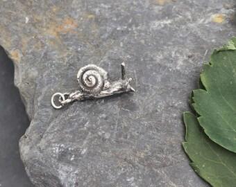 Snail Charm, sterling silver 'Pablo', snail, garden, slug