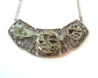 "Victorian Steampunk Necklace ""In the Silver Stream of Time"""