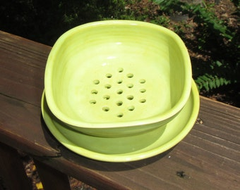 Ceramic Soap Dish and Plate, Soap Holder,  Wheel Thrown Soap Dish Set - Green Opal Glaze