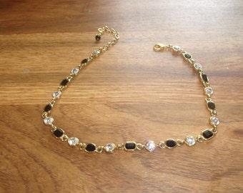 vintage necklace goldtone black white stones
