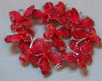 Red Glitter Butterflies