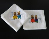 2 Large Muslin Kitchen Towels Bunny Applique 231a