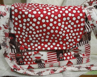 Diaper Bag, Tote, or Purse Monkey Around in colors of Red polka dots, Brown and cream stripes & monkeys everywhere.