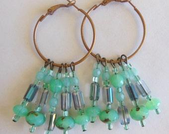 Caribbean  sea chandelier earrings E514