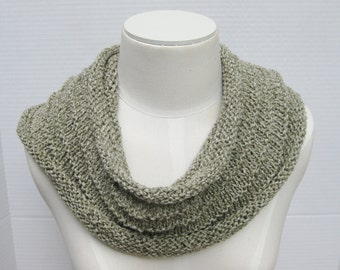 Pima cotton infinity scarf sage green hand knitted