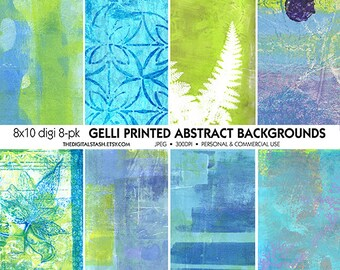 Gelli Prints - Abstract Backgrounds - 8 Digital 8x10 Papers - INSTANT DOWNLOAD for Scrapbooking, Decoupage, Collage, Journaling, Cards, Art