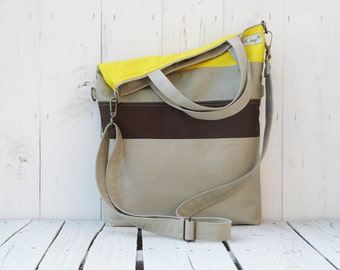Striped Messenger tote,Safari canvas cross body, Convertible bag, Women laptop carrier, Unique gift for College studetns, birthday gift