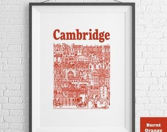 City of Cambridge Illustrated Screen Print