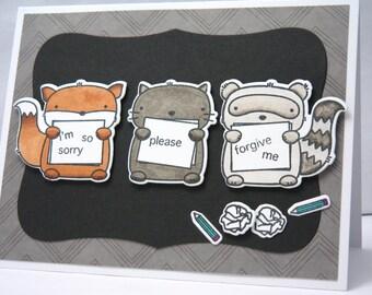 Sorry Card, Forgive Me Card, Apology Card for Boyfriend, Card for Husband, Friendship Card, Woodland Friends Card