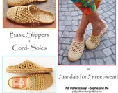 2in1-Pattern for Raffia Slip-In Slippers Included Tailored CORD-Soles  - Instant Download