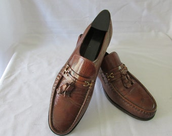 Vintage Mens Quality Florsheim Imperial Tasselled Loafers Florsheims Top End Soft Leather Lined Size 9 D