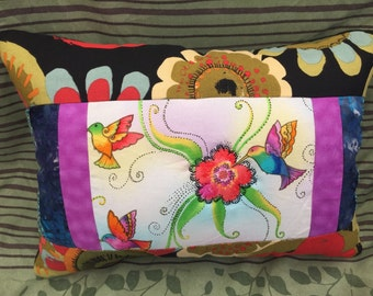 Hummingbirds - Bright Flowers - Laurel Burch Quilted Pillow - free US shipping
