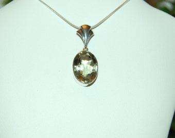 Green Amethyst Pendant, Golden Green Sparkle, 15 Carats, Prasiolite, Sterling Silver, Big Green Amethyst