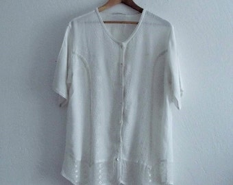Sale Vintage Bohemian White Embriodered Blouse Small Medium Large