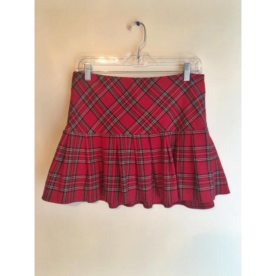 90s plaid pleated skirt