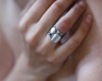Wide Band Ring, Silver Wide Band Dot Ring, Gift for her