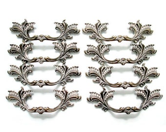 """8 French Provincial drawer pulls - 3"""" centers decorative handles for refinishing vintage furniture"""