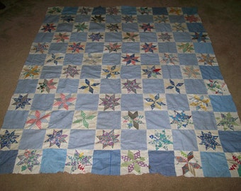 Vintage quilt top in star pattern -Reduced Price
