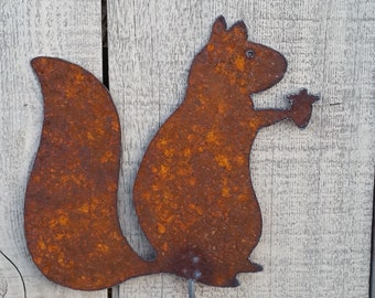 Squirrel Garden Stake - Metal Art - Plasma cut by hand - Garden Decor - Metal Garden Stake - Outdoor Garden Stake