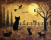 Folk Art Halloween Wood Tray - MADE TO ORDER - Hand Painted Art - Mother Cat and her Kittens Watch as Their Sister Flies Solo on Halloween