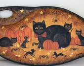 Folk Art Halloween Wood Plate - READY TO SHIP - Leaf Shaped Wooden Plate with Mama Black Cat and Kittens Playing with Mice and Spiders