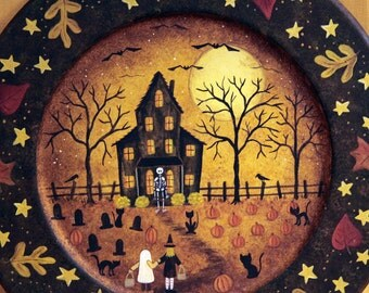 Halloween Folk Art, Hand Painted Plate, Trick or Treat, Primitive Painting, Spooky Mansion, Black Cat, Skeleton, Witch, Ghost, MADE TO ORDER
