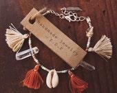 STCB-01,Free U.S. shipping, handmade shell,crystal and tassel beaded bracelet